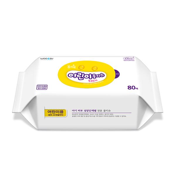물따로 어린이물티슈 베이직 리필형 (60매/10팩)