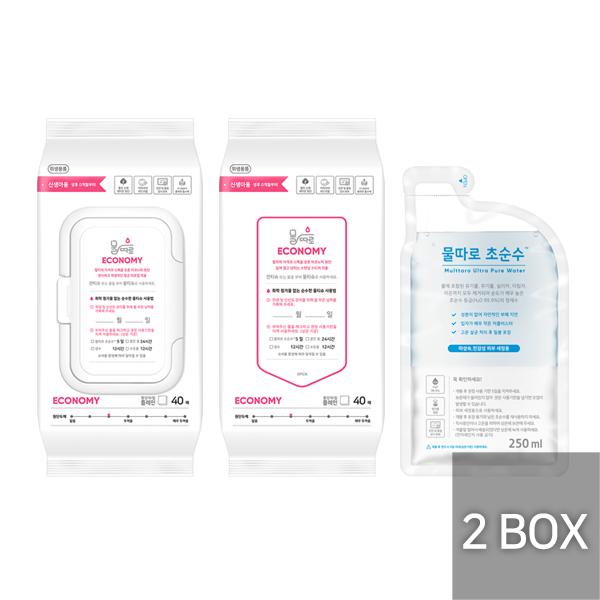물따로 물티슈 이코노미 캡형+리필형 2box 알뜰구매 (40매/24set)