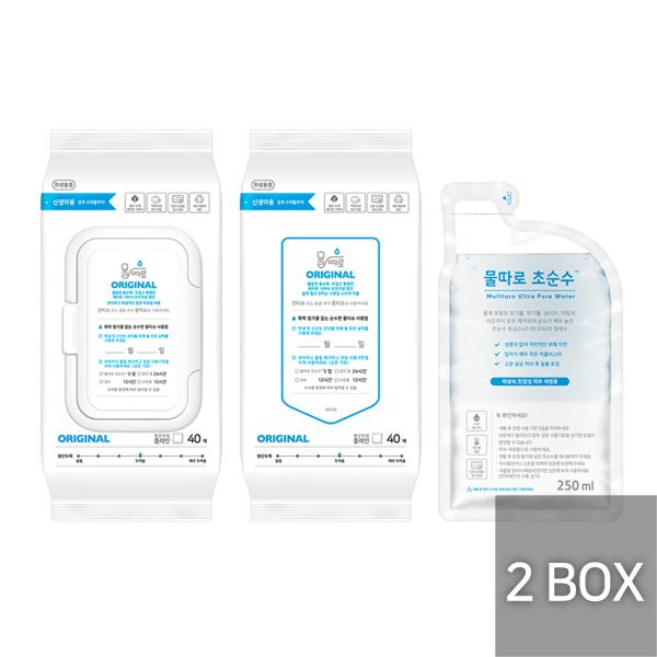 물따로 물티슈 오리지날 캡형+리필형 2box 알뜰구매 (40매/24set)